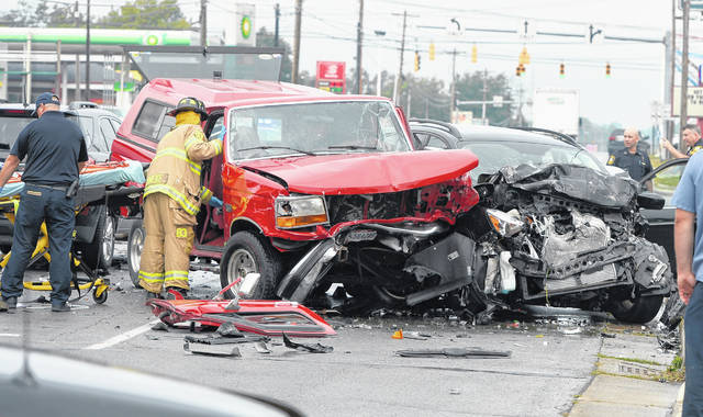 Lima fire and police departments were on the scene of a three-vehicle crash at 1900 Allentown Road Tuesday morning.