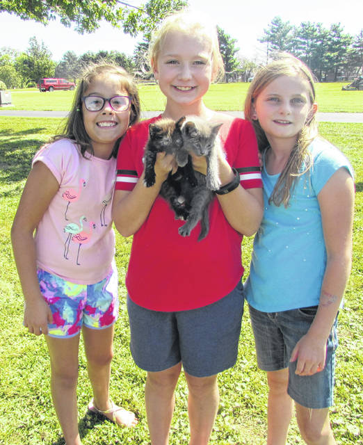 From left at Animal Encounter Day Thursday at Pandora-Gilboa schools are fourth graders Lila Salazar, Allison Suter and Ryann Thaman and Suter's two kittens.