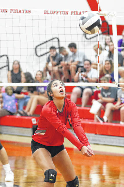Pandora-Gilboa's Makayla Kinsinger positions herself to set the ball during Thursday night's match at Bluffton.