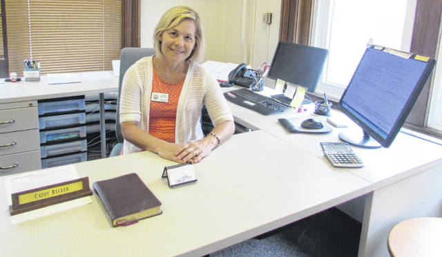 Cathy Recker, Putnam County recorder, sits at her desk Monday afternoon and said she has no plans to retire or resign despite a letter her husband sent to members of the Putnam County Republic Central Committee.