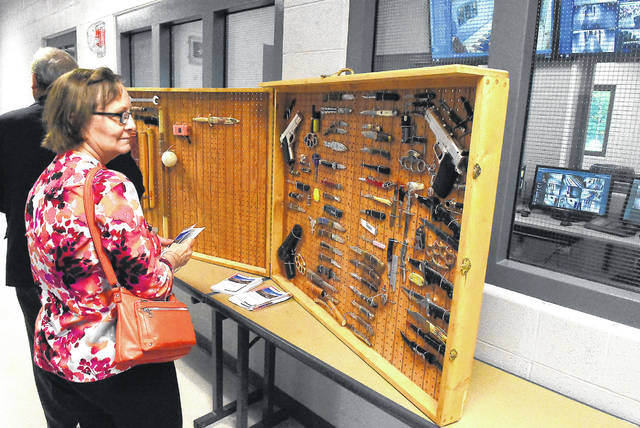 A display showcases weapons confiscated from the Juvenile Detention Center.