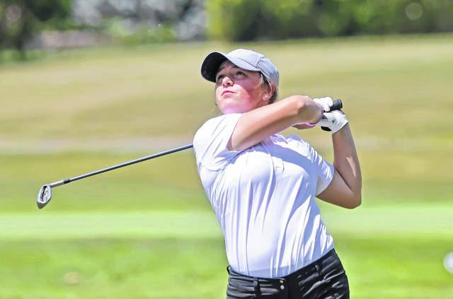 Lima Central Catholic's Erin Mulcahy hits a tee shot during Wednesday's Allen County Girls High School Championship at Lost Creek Golfers Club.