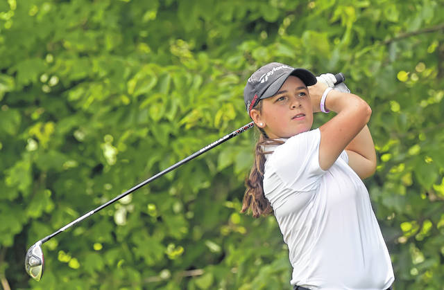Lima Central Catholic's Mary Kelly Mulcahy hits a tee shot during Wednesday's Allen County Girls High School Championship at Lost Creek Golfers Club.
