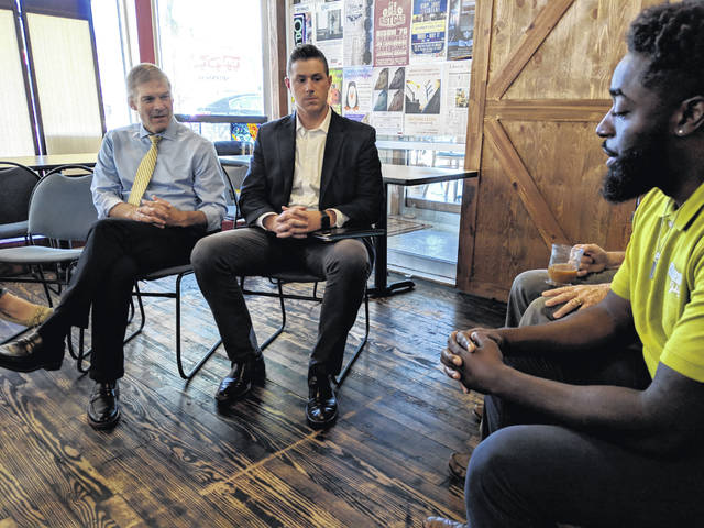 U.S. Rep. Jim Jordan (R-OH) discusses startup policy with members of The Coworking Center in Lima.