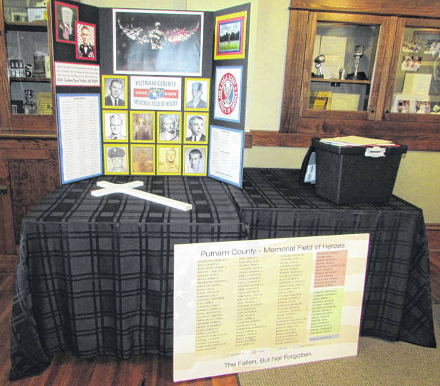 A vision board lists the names of 108 deceased Putnam County service members that is part of a Memorial Field of Heroes display.