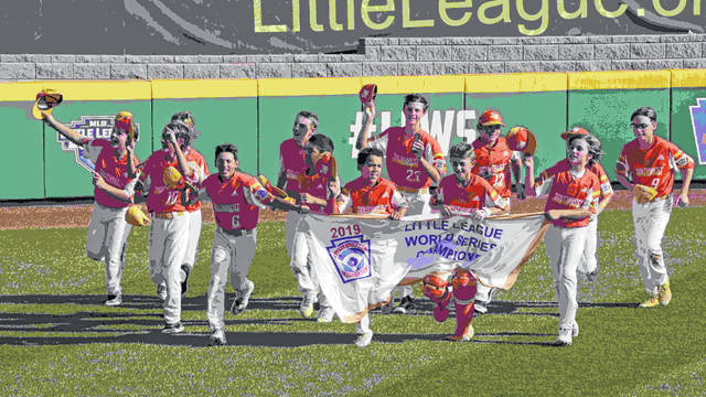 River Ridge, Louisiana takes a victory lap around the field at Lamade Stadium after winning the Little League World Series Championship game against Curacao, 8-0, in South Williamsport, Pa., Sunday, Aug. 25, 2019. (AP Photo/Gene J. Puskar)