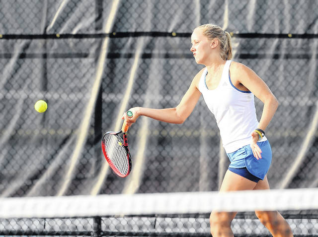 Bath's Ester Bolon reached state last year in doubles with her sister Ruby.  Richard Parrish | The Lima News