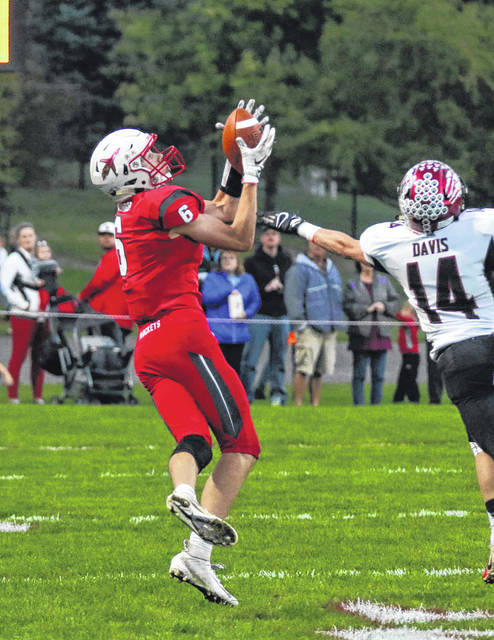 Pandora-Gilboa's Bryce Basinger (6) will be one of the featured receivers in the Rockets' offense and is expected to be a force on defense.