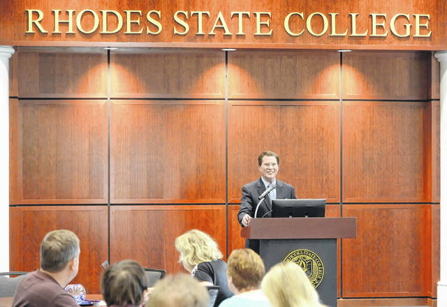 Dr. David Devier, speaks during a Meet and Greet at Keese Hall Multipurpose Center on Thursday. Devier is a one of three Presidential Candidate finalist at Rhodes State College. Richard Parrish | The Lima News