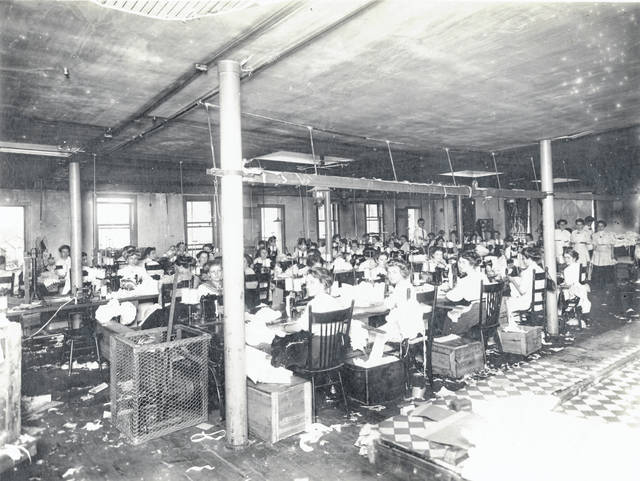 Women work at the Shirr Ruffle Co. in this undated photo.