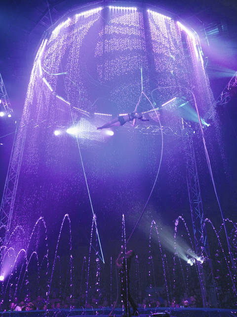 Susana Silva performs the Mermaid Aerial Straps act in a show earlier this year in Melboure, Florida.