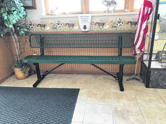 The Allen County Fair wants to update all its white wooden benches that have been in use for years with metal benches, like this one on display in the administration office. The board is offering this new style for $500, which is a lifetime sponsorship and includes space on the bench for an advertisement or a way to recognize a loved one.