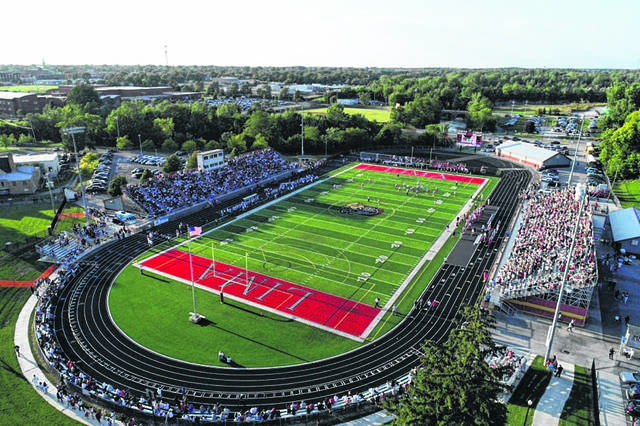 Fans packed the stands Thursday night at Spartan Stadium in Lima, as Lima Central Catholic and Lima Senior played in football for the first time in history. The Crosstown Gridiron Classic kicked off the 2019 high school football season. Find coverage and more photos in Sports, and find drone video of the scene on LimaOhio.com.
