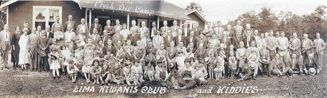 The Lima Kiwanis Club and campers pose for this photo, dated July 21, 1925, at Fresh Air Camp. The photographer was C. Zimmerman at 211 College Building, Lima.
