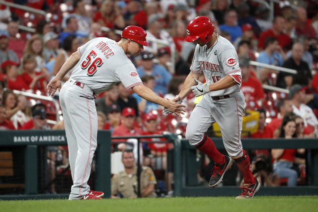 Cincinnati Reds' Nick Senzel, right, is congratulated by third base J.R. House (56) after hitting a solo home run during the fifth inning in the second baseball game of a doubleheader against the St. Louis Cardinals Sunday, Sept. 1, 2019, in St. Louis. (AP Photo/Jeff Roberson)