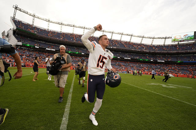 Chicago Bears kicker Eddy Pineiro (15) leaves the field after an NFL football game against the Denver Broncos. Sunday, Sept. 15, 2019, in Denver. The Bears won 16-14, (AP Photo/Jack Dempsey)