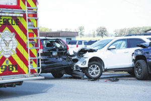 Three vehicles in collision