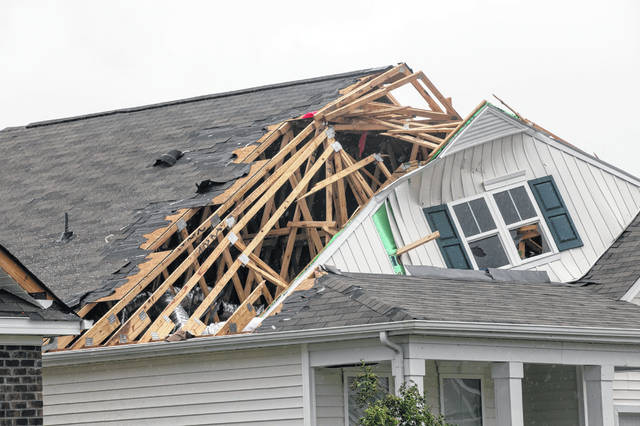 A tornado touched down in the The Farm at Brunswick County in Carolina Shores, N.C. on Thursday, Sept. 5, 2019, damaging homes ahead of Hurricane Dorian's arrival.