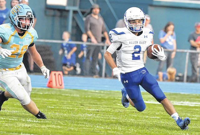 Allen East's Bradden Crumrine is one of three Mustang receivers in the top 10 in yardage.