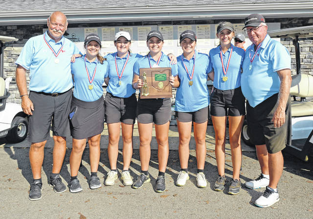 Lima Central Catholic team wins Monday's Division II District Tournament at Sycamore Springs Golf Course.