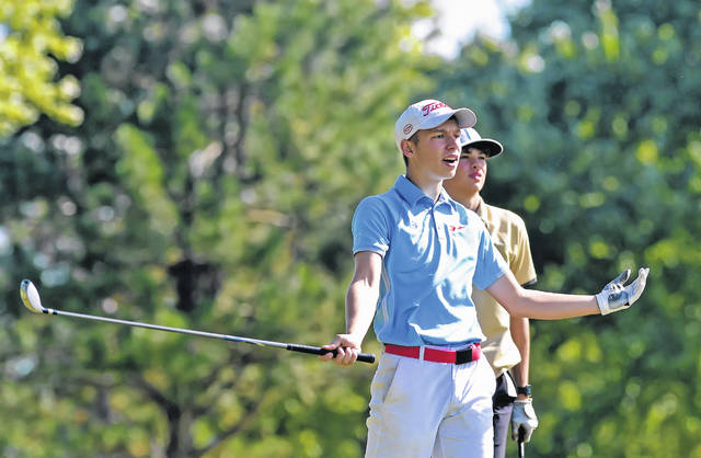 Lima Central Catholic's Ross Otto reacts to his tee shot on the sixth hole during Thursday's Division III sectional at Colonial Golfers Club in Harrod.