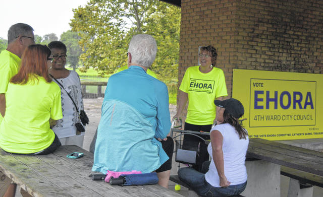 Peggy Ehora meets with supporters at Faurot Park on Sunday as she kicked off her campaign for Lima Council.