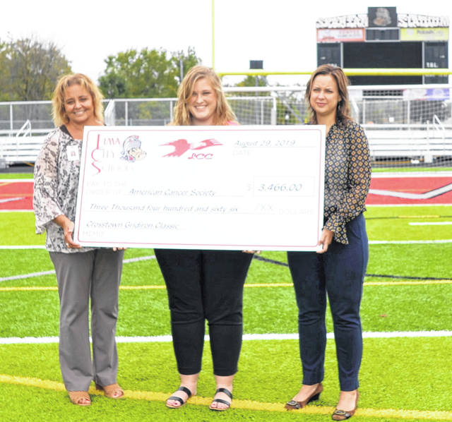 Jill Ackerman (left), Superintendent of Lima Senior, and Stephanie Williams (right), principal of Lima Central Catholic, present Alli Hermiller (center) of the American Cancer Society a check for $3,466 Tuesday morning.