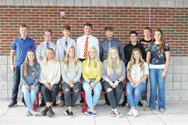 Members of New Bremen's homecoming court include, front row from left, Emma Keller, Benedetta Bettinelli, Hannah Kramer, Ashton Heitkamp, Sarah Parker, Sami Hemmelgarn and Lauren Homan; and back row from left, Ben Zimpher, Sean Lafleur, Landin Boyle, Nolan Bornhorst, Ian Frey, Owen Gable, and Logan Topp.