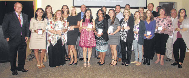 Pictured are Allen-Lima Leadership class of 2019 graduates and Matt Childers, Allen-Lima Leadership executive director, (left) during a graduation ceremony Thursday night at The City Club in Lima.