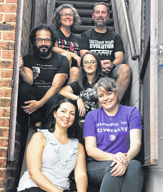 The Legacy Arts, a collective of small businesses and artists in Lima, will hold its first party in downtown Lima Saturday. Angie Bowker (top left), Marc Bowker, Omar Zehery, Kayla Nocera, Sarah Stover and Jennifer Brogee (bottom right), formed the Legacy Arts to nuture local arts, commerce and creativity.