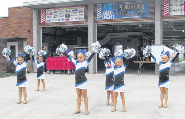 Members of Tannis School of Dance, Kalida, performed for Pioneer Days attendees Friday night at the fire station.