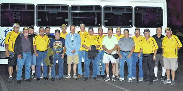 """Seventeen veterans and two guardians from The Vietnam Veterans of America Michael D. Armstrong Chapter 1126 in Wapakoneta took part Saturday in a Dayton Honor Flight to Washington D.C. They are first row, from left: Dennis Bailey, Al Elsass, Kenneth Kohlrieser, Jerry Steinke, Larry McLean, Richard Schneider, Jim Stinebaugh, Dan Metzger and Richard Metz. Back row: Ace Ambos, Eric Elsass (Guardian), Greg Metzger ( Guardain), Roger Craft, Jim Fast, Mike Borges, Doug Slattery, John Schwarck and Leslie Kubinski. The veterans were transported to and from the airport by a van from Wapakoneta Ford. """"It was an outstanding and emotional trip for all of us. We would recommend this trip to any veteran. It would be something you will never forget,"""" said chapter secretary Ace Ambos. If interested in scheduling a trip for next year contact Ambos at 419-954-0117."""
