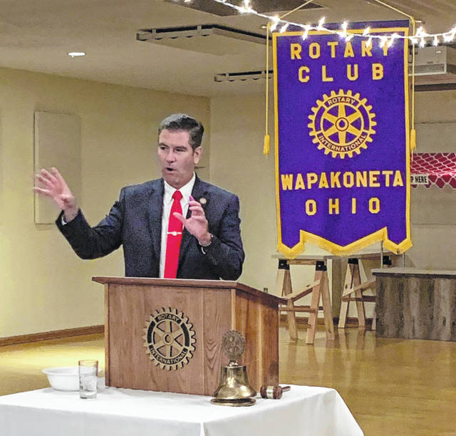 District 82 State Rep. Craig Riedel (R-Defiance) was the keynote speaker at Monday's Wapakoneta Rotary Club.