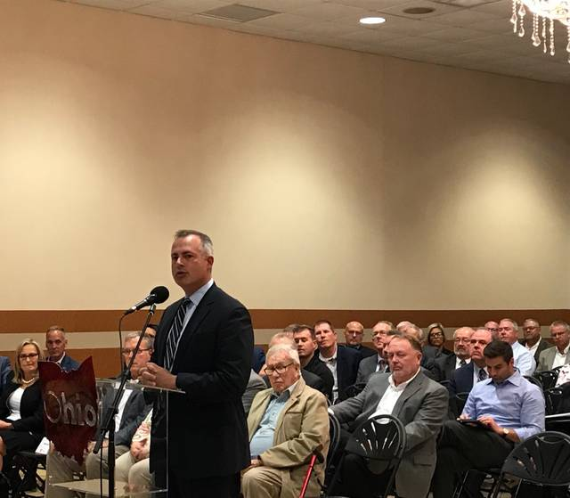 Ohio Treasurer Robert Sprague speaks with the JobsOhio board in Lima on Monday. The economic development group's board plans to continue traveling the state for its quarterly meetings. Mackenzi Klemann | Lima News.