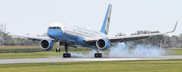 Air Force One arrives with President Donald J. Trump at the Lima Allen County Airport on Sunday afternoon. Richard Parrish | The Lima News