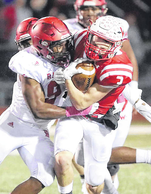Wapakoneta's Reed Merricle, starting at quarterback, rushed for 131 yards, in helping the 'Skins to a 28-0 win over Bellefontaine in the first week of the season.