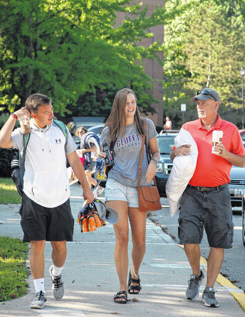Grace Zickafoose, a first-year student from Lima, moves into her residence at Bluffton University. She is part of the 250-member incoming class.
