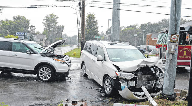 Shawnee Township Police and Fire Department were on the scene of a two-vehicle crash at the intersection of Breese and Shawnee roads Sunday afternoon.