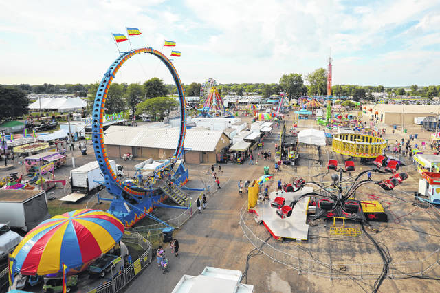 A view of the Allen County Fair from the Ferris wheel Wednesday evening.