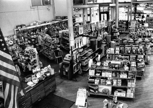 An interior view of Stippich Hardware, photographed in 1987.