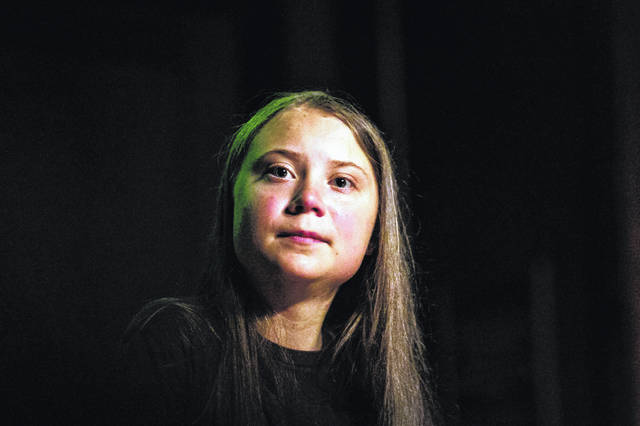 "Greta Thunberg pauses as she speaks Sept. 9 at the Society for Ethical Culture in New York. ""No — Church of Sweden has (obviously) not proclaimed Greta Thunberg as successor of Jesus Christ,"" Martin Larsson, a spokesman with the Church of Sweden, told the The Associated Press in an email."
