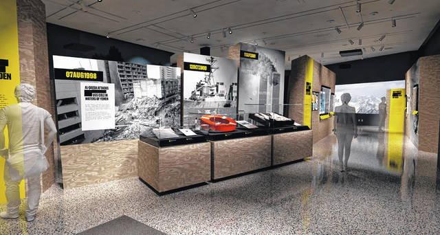 "In this artist's rendering provided by C&G Partners, the exhibit ""Revealed: The Hunt for Bin Laden,"" is shown at the National September 11 Museum in New York. Newly declassified U.S. government artifacts are part of the exhibit, opening Nov. 15, that traces the decade-long, secret search for Osama bin Laden at the site of the New York terrorist attack he commandeered."