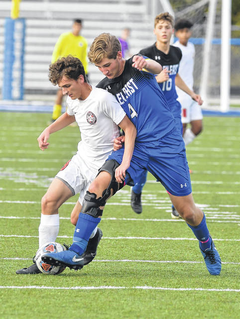 Bluffton's Jayden Mays competes with Allen East's Jack Williams during Thursday's match at Goodwin Field.