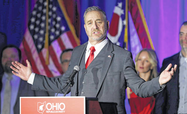 FILE - In a Nov. 6, 2018 file photo, Dave Yost speaks at the Ohio Republican Party event, in Columbus, Ohio. A federal appeals court has denied an effort by state attorneys general to stop a bellwether opioids trial involving two Ohio counties from getting underway later this month in Cleveland. The Sixth Circuit U.S. Court of Appeals in Cincinnati ruled Thursday, Oct. 10, 2019 that Ohio didn't object when lawsuits filed by Summit and Cuyahoga counties were initially included in what has become a sprawling case involving around 2,600 local governments and other entities. Yost argued in August against the certification of the local government lawsuits as multi-district litigation.