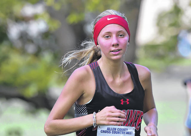 Shawnee's Alaina Williams won the girls race at Tuesday's Allen County Meet held at Faurot Park.