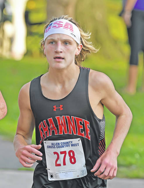 Shawnee's Isaiah Johns finished second in the boys race at Tuesday's Allen County Meet held at Faurot Park.