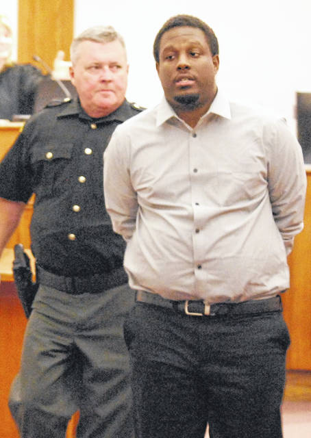 Lima resident Alonzo Williams enters Allen County Common Pleas Court on Tuesday as his jury trial got under way. Williams, 28, faces 10 felony drug and weapon charges. The trial will continue Wednesday.