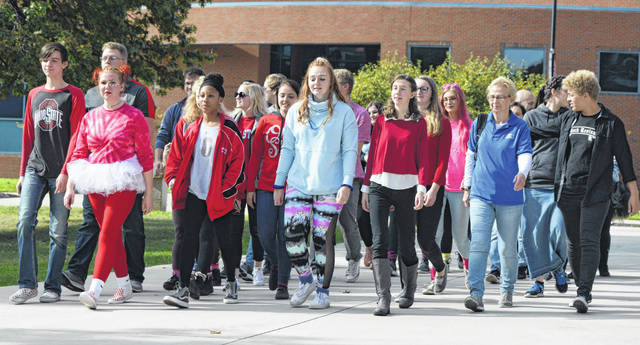 "OSU-Lima students participated in a ""For The Kids: Fall Rally Cancer Walk"" at the Lima campus on Sunday. Sam Shriver photo 