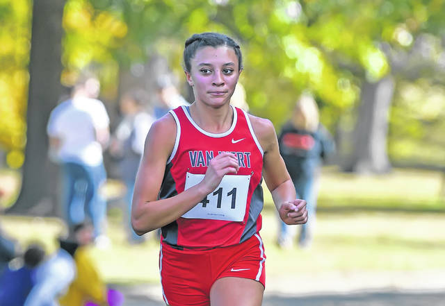Van Wert's Caylee Phillips competes in Saturday's Division II district girls race at Ottawa Park.